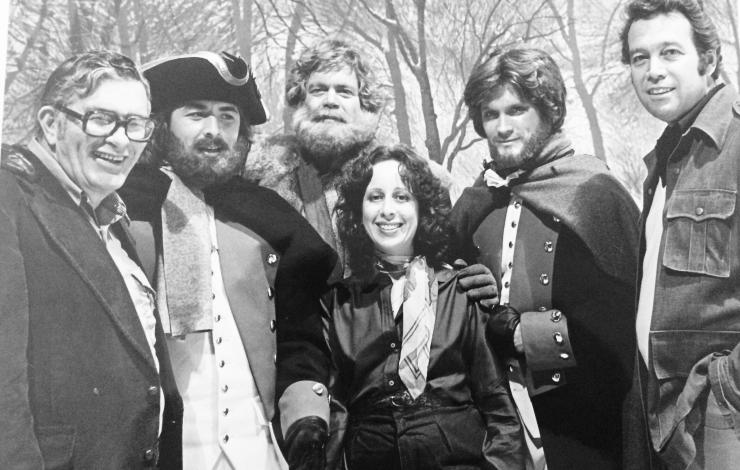 """The Rebels"", based on John Jakes' novel. From left: Bob Cinader, Don Johnson (gorgeous even with a beard) as Judson Fletcher, the late Doug McClure (what a nice man!) as Eph Tait, Andrew Stevens as Philip Kent (character originated in ""The Bastard""), and Gino Grimaldi, co-producer. I'm in the front, of course, always the shortest. I love being surrounded by these guys."